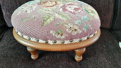 """12"""" L Rarely Used Roses Needlepoint Mid Century Foot Stool oval"""