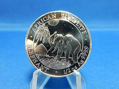 2017 Solami Republic Elephant 50 Shillings 1/2oz .999 Silver Coin