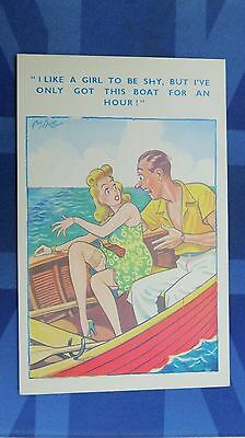 Risque Comic Postcard 1940s Blonde Nylons Stockings Garter ROWING BOAT Theme