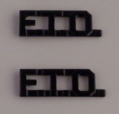 "F.T.O. SUBDUED/BLACK 3/8"" Lettering/Letters Pair Collar Pins police FTO"