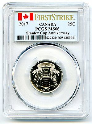 2017 Canada 25 Cent Pcgs Ms66 125Th Stanley Cup Quarter First Strike Rare Pop=27