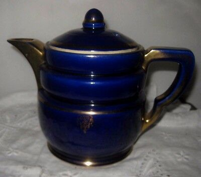 **early Fraunfelter China Cobalt And Gold Teapot**