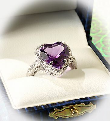 5.25 CTW Diamond & Heart Shaped Amethyst Engagement Ring in Solid 14K White Gold