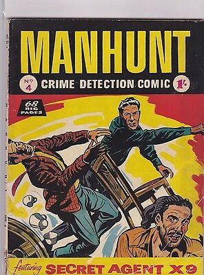 MANHUNT COMIC  # 4  1950s   BRITISH EDITION,  68 PAGES