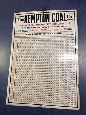 "Vintage Kempton Coal Dealer Ready Reckoner Price List Board 13.25"" By 9.25"""