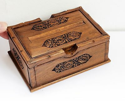 Gorgeous Vintage Wooden Cigarette Dispenser Box with Carved Foliage Design