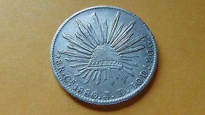 Mexico 8 Reales, 1880 Cn JD Culiacan SIlver Coin