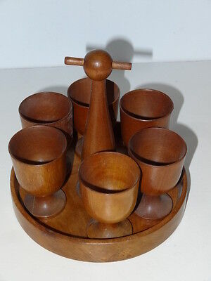 Vintage Oak Wooden Egg Cup Set Stand Kitchen