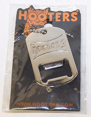 HOOTERS BEER CAN Bottle Metal Opener with Chain Necklace - NEW