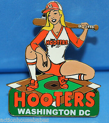 Hooters Restaurant Hot Baseball Batter Girl On Home Plate Lapel (Name Drop) Pin
