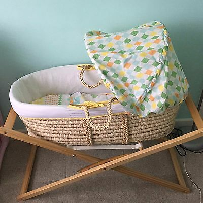 Mothercare Circus Moses Basket, Stand and matching blanket