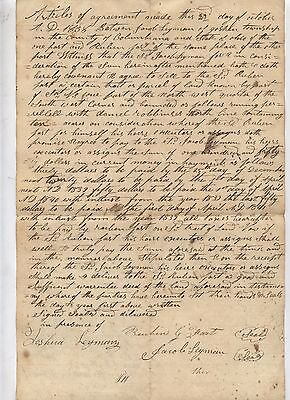 1838 Old Antique Land Deed Agreement Columbiana County Ohio FAST LEYMAN Family