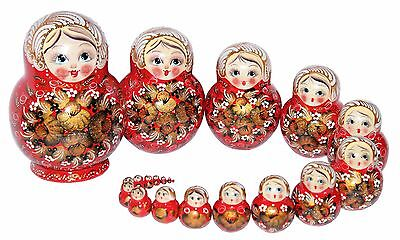 20 RUSSIAN STACKING TRADITIONAL MATRYOSHKA DOLLS/RED&GOLDEN FLOWERS/16 cm/6.4''