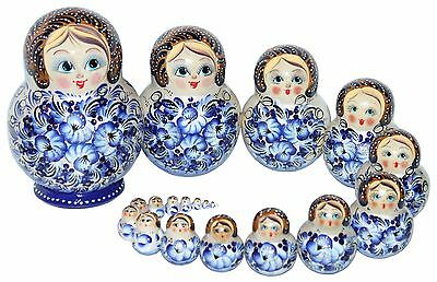 20 RUSSIAN STACKING TRADITIONAL MATRYOSHKA DOLLS/BLUE FLOWERS/16 cm/6.4''