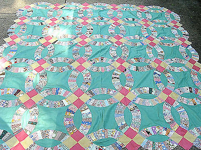 Vintage Double Wedding Ring Quilt Top