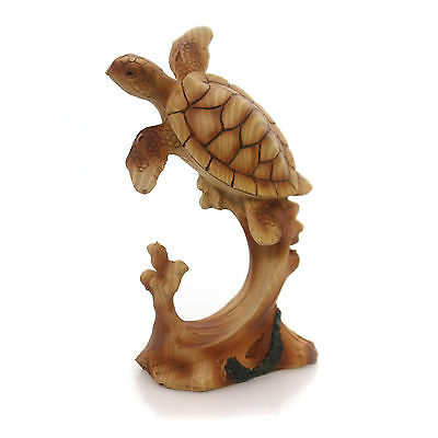 Animal SEA TURTLE SWIMMING WOODLIKE Polyresin Carving Mme176