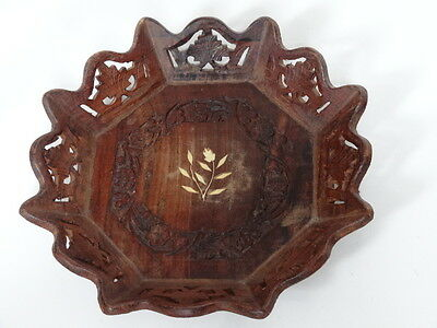 Vintage Floral Carved Pierced And Inlaid Wooden Fruit Bowl