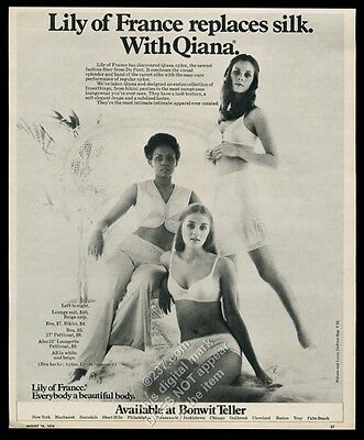 1970 Lily of France lingerie Quiana bra panty bikini 3 women photo print ad