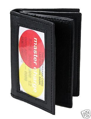 New Mens Bifold Lambskin Leather ID Window Wallet Black Credit Card Holder 774
