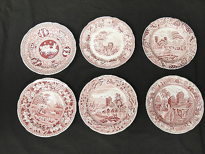 Spode Archive Collection Tradition Series Set 6 Pink Dinner Plates Aesops Greek
