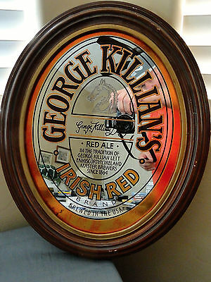 Vintage 1981 George Killian's Irish Red Ale Oval Mirror Beer Sign Adolph Coors
