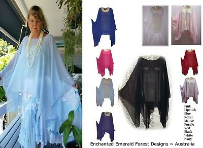 Gorgeous Soft Flowing Chiffon Poncho Kaftan Style Top ~ Many Colours Aussie Made