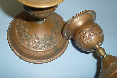 Collectable Shabby Vintage/Antique Look Copper Candle Stick Holders