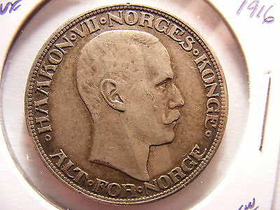 Norway 2 Kroner, 1916, VF and perhaps a bit better