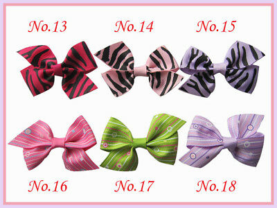 """50 BLESSING Girls Custom  Boutique 2/2.5"""" Wing Bow + Hair Clip 248 No."""