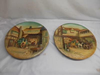 Antique W.H. BOSSONS Chalkware PLAQUE set 2 Wall Hangings Decor England Old Vtg