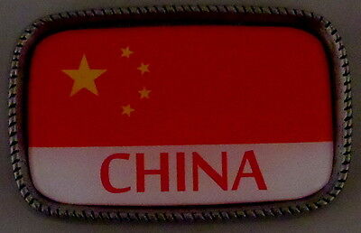 CHINA FLAG Antique Silver Belt Buckle USA MADE Chinese