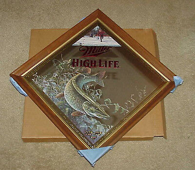 MILLER BEER Tip Up NORTHERN PIKE Wildlife Hunting MIRROR (Mint In Box!)