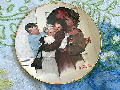 """Norman Rockwell 1985 """"home For The Holidays"""" Christmas Plate; #3395; 8.5 Inches"""