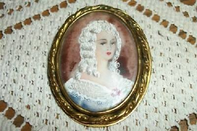 CHIC 1800s MINIATURE PAINTING PORTRAIT FRENCH LADY SHABBY BRONZE FRAME BROOCH