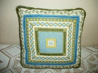 Vintage Chic Mixed Needlepoint Pillow French Blue  Shabby Hollywood Regency Nice