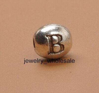 """15pcs Tibetan Silver Charm Letter """" B """" Spacer Beads Jewellery Findings 6X7MM"""
