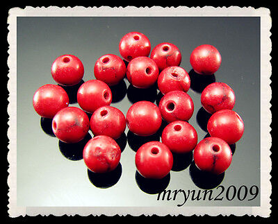 FREE 50pcs Jewelry Making Red Turquoise Round Loose Beads Strand Gemstone 8MM