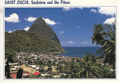 Post Card - Saint Lucia / Soufriere and the Pitons