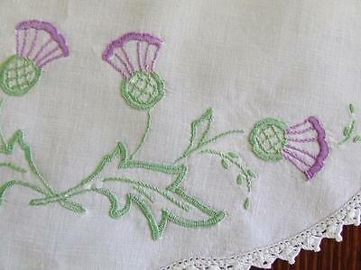 Scottish Thistles - Hand Embroidered Vintage Centre Doily - Crocheted Edging