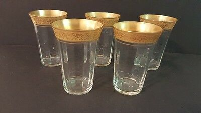Vintage Tiffin Ramblin Rose Gold Rimmed Set of 5 Juice Glasses Fluted sides