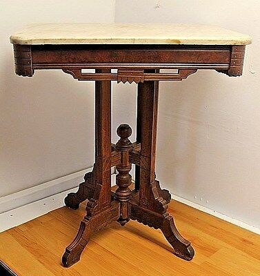 Antique Eastlake Victorian Fancy Carved Marble Top Parlor Side Table c.1880