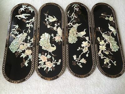 Set of 4 Oriental Mother of Pearl Wall Hanging Pictures