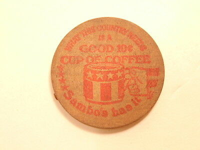 Vintage advertising wooden nickel:Sambo's restaurant, Bradenton, FL- free coffee
