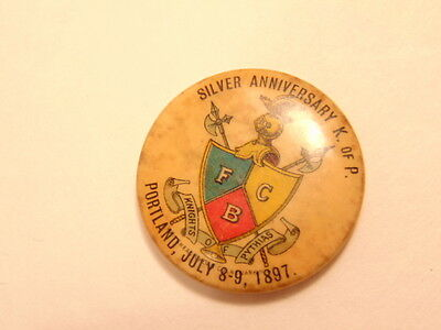 Vintage pin for the 25th anniversary of the Knights of Pythias in 1897