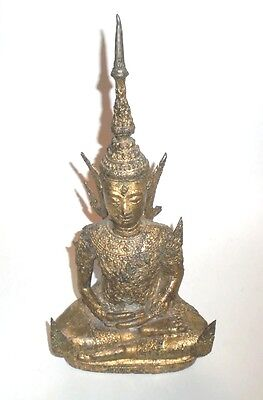 "Vintage Thai Gilt Cast Metal Buddha Figurine  12-3/4"" tall"