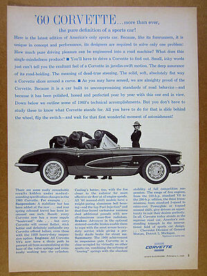 1960 chevrolet CORVETTE men inspecting car photo vintage print Ad