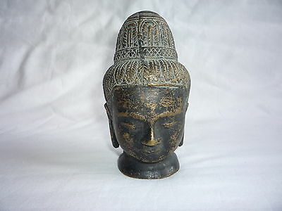 Antique/Old Chinese Bronze Carved Small Buddha Head Statue