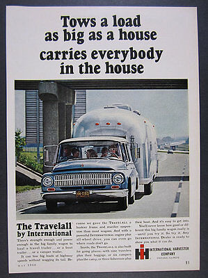 1966 IH International Travelall towing Airstream Trailer photo vintage print Ad