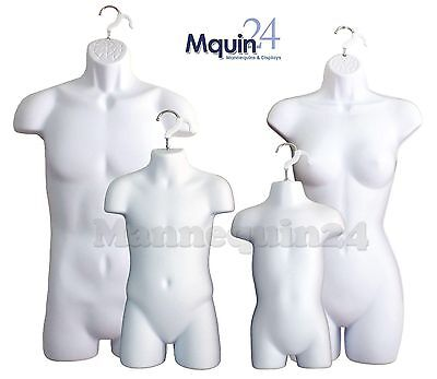 MALE, FEMALE, CHILD & TODDLER(a set of 4 pcs)mannequins forms for Hanging -White