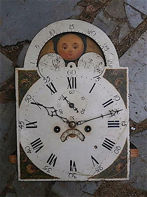 12x17 inch 8 day c1850 MOONPHASE WILSON LONGCASE  CLOCK dial + movement